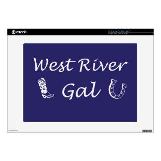 """WestRiverGalBlue.jpg 15"""" Laptop Skins"""