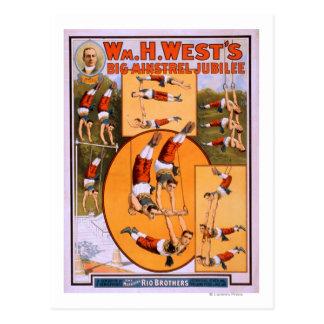 West's Big Minstrel JubileeGymnasts Poster Postcard