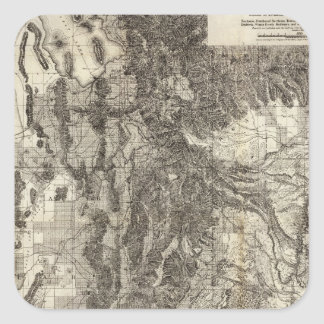 West's New Sectional and Topographical Map Of Utah Square Sticker