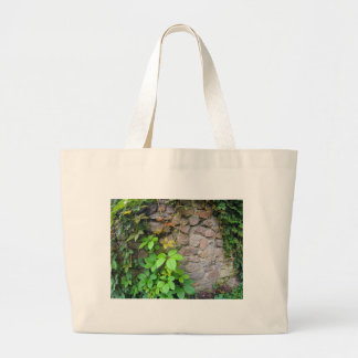 Wet and green shoots of wild grapes large tote bag
