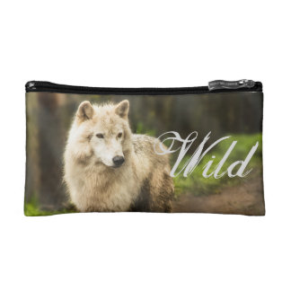 Wet Arctic Wolf in Spring Photo Cosmetic Bag