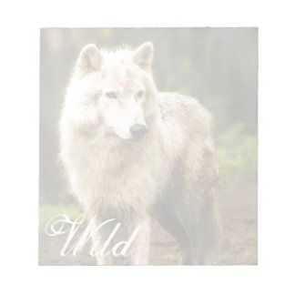 Wet Arctic Wolf in Spring Photo Notepad