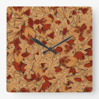 Wet Autumn Leaves Square Wall Clock