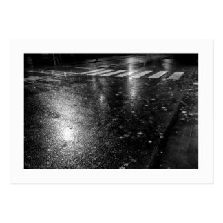 Wet Autumn Road at Night (Bordered) Large Business Card