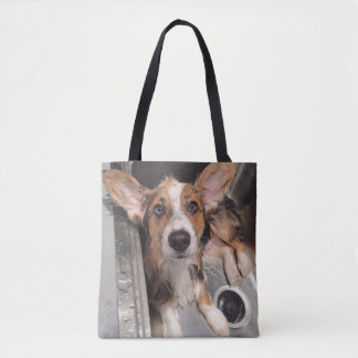 Wet Baby Corgi Puppy (With Huge Ears In The Sink) Tote Bag