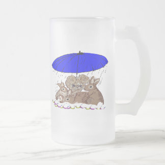 Wet Bunnies 16 Oz Frosted Glass Beer Mug