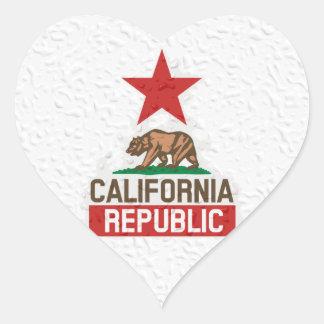 Wet California Republic Heart Stickers