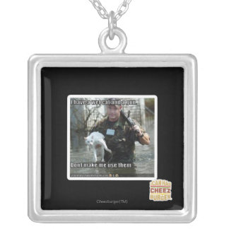 Wet cat and gun silver plated necklace