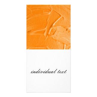 wet color texture,orange customized photo card