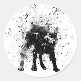 wet dog classic round sticker