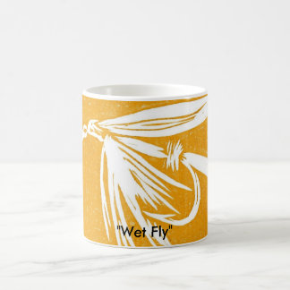 """Wet Fly on yellow"" Classic Trout Fly Mug"