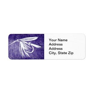 """""""Wet Fly Purple"""" Trout Fly Return Address Label"""