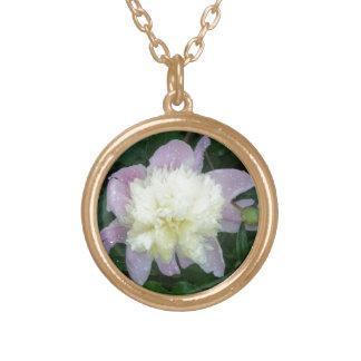 Wet garden peony round pendant necklace