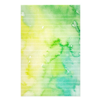 Wet Green and Yellow Watercolor Lined Stationery