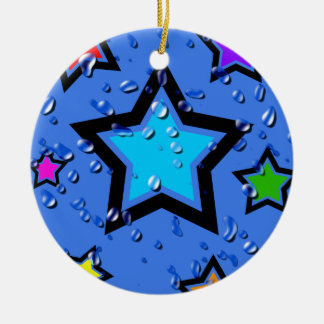 Wet N Shiny Rainbow Stars Ceramic Ornament