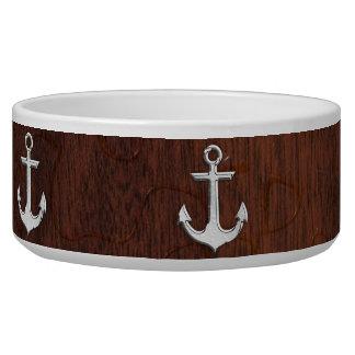Wet Nautical Mahogany Anchor Steel Bowl