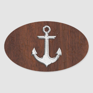 Wet Nautical Mahogany Anchor Steel Decor Oval Sticker