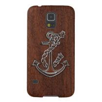 Wet Nautical Mahogany Anchor Steel Galaxy S5 Case