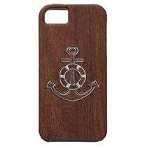 Wet Nautical Mahogany Anchor Steel iPhone SE/5/5s Case
