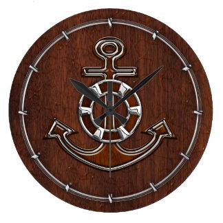 Wet Nautical Mahogany Anchor Steel Large Clock