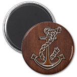 Wet Nautical Mahogany Anchor Steel Magnet