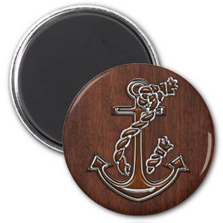 Wet Nautical Mahogany Anchor Steel 2 Inch Round Magnet