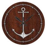 Wet Nautical Mahogany Anchor Steel Wall Clock
