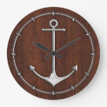 Wet Nautical Mahogany Anchor Steel Wall Clocks