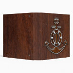 Wet Nautical Mahogany Classic Anchor Steel Vinyl Binder