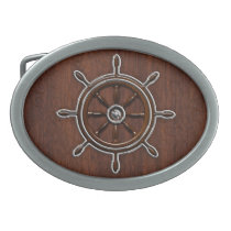 Wet Nautical Mahogany Nautical Wheel Belt Buckle