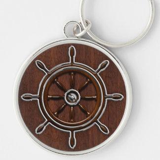 Wet Nautical Mahogany Nautical Wheel Keychain