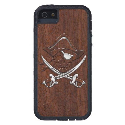 Wet Nautical Mahogany Pirate Skull Steel iPhone 5 Covers