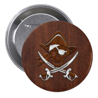 Wet Nautical Mahogany Pirate Skull Steel Pinback Button