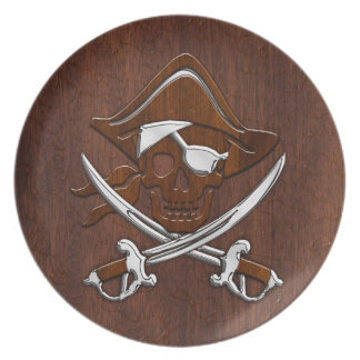 Wet Nautical Mahogany Pirate Skull Steel Party Plate