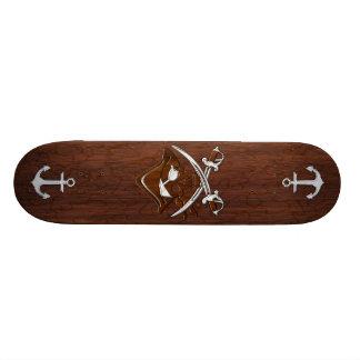Wet Nautical Mahogany Pirate Skull Steel Skateboard