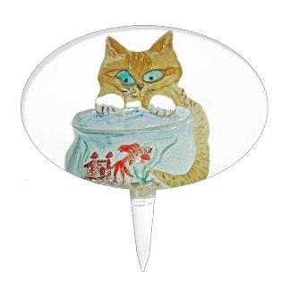 Wet Paws - Kitten get Away from the Goldfish! Cake Topper
