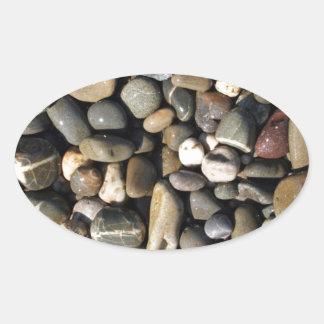 wet pebbles oval sticker