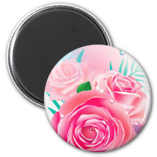 wet pink roses 2 inch round magnet