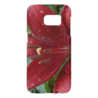 Wet Red Asiatic Lily Flower Samsung Galaxy S7 Case