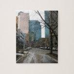 Wet Street in Downtown Edmonton Jigsaw Puzzle