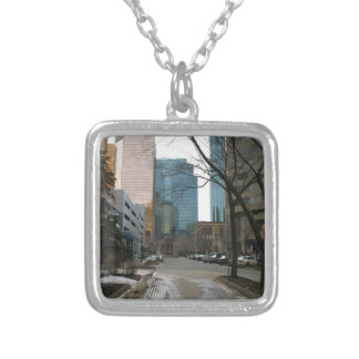 Wet Street in Downtown Edmonton Silver Plated Necklace