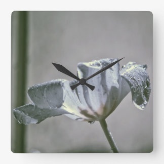 Wet Tulip Infrared Square Wall Clock
