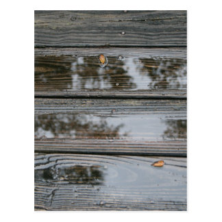 Wet Wood with puddles background image Postcard