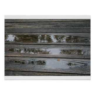 Wet Wood with puddles background image Poster