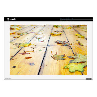 Wet wooden platform made of planks skins for laptops