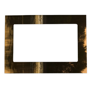 Wetland at Sunset in Silhouette Magnetic Frame