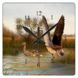 Wetland Ducks in Flight Square Square Wall Clock