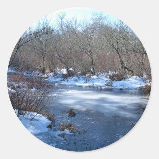 Wetland Ponds In Winter Classic Round Sticker