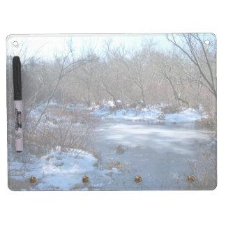 Wetland Ponds in Winter Dry Erase Board With Keychain Holder