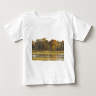 WETLAND WITH AUTUMN TREES IN BACKGROUND AND DUCKS BABY T-Shirt